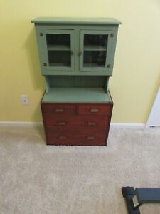Vintage Child Step Back Kitchen Cabinet Cupboard Glass Doors Drawers