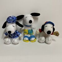 Vtg Lot of 3 Metlife Snoopy Promotional Plush Characters Beach Baseball Military