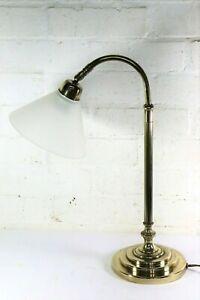Laura Ashley Vintage Desk Lamp Table Lamp POLISHED Brass Adjustable Glass Shade