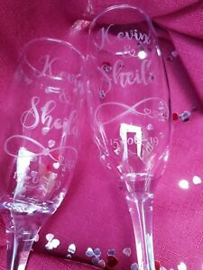 Personalised pair Wedding/Engagement Champagne Flutes