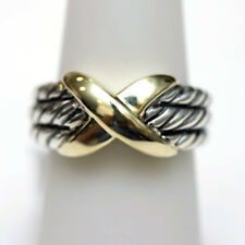 46d27587b0 DAVID YURMAN NEW Two Tone 14K Gold and Sterling Silver Triple Row X Ring 7