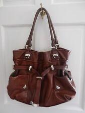 B Makowsky brown leather silver hardware shoulder bag