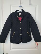 New Cat & Jack Girls Navy Quilted Lightweight Coat Size Large