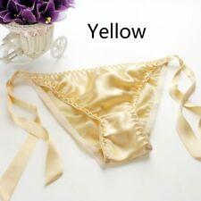 Women 100% Silk Side-tie Briefs Sexy Low Rise Bikini Panties Underwear Underpant