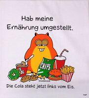 """T-Shirt Rahmenlos Spruch """"Hab meine Ernährung .."""" Größe M Baumwolle Kurzarm"""
