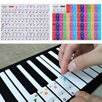 Piano Keyboard Stickers Music Note Keys Learn Decal Set Label Transparent Teach
