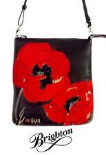 "Brighton Vera ""Poppy"" Black Cross Body Mini Messenger Handbag with Red Poppy NWT"