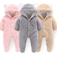 Cute Newborn Baby Boys Girls Snowsuit Cartoon Bear Warm Hooded Romper Jumpsuit