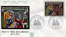FRANCE FDC - 1531 2 TABLEAU VITRAIL EGLISE SAINTE MADELEINE 1967