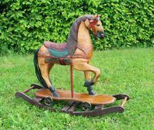 altes antikes Holz Schaukelpferd mit Rädern Vintage Schaukel Karussell Holzpferd