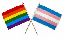 "12x18 12""x18"" Wholesale Combo Gay Pride Rainbow & Transgender Stick Flag"