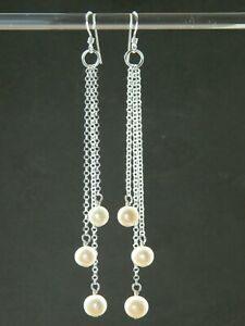 Alex Polizzi Style Long Earrings, Ivory White Freshwater Pearls, Sterling Silver