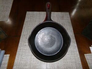 "Favorite Piqua Ware 8"" Cast Iron Skillet / Fry Pan #5 I, Smiley Logo, Heat Ring"