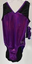 GK Womens Power Athlete Leotard W/Hair Tie Black/Purple Small NWT #