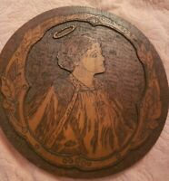 Antique Flemish Art Pyrography Wood Portrait Plaque woman with halo