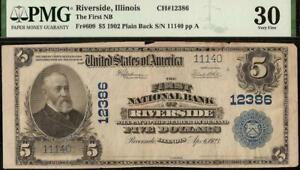 1902 $5 DOLLAR RIVERSIDE IL NATIONAL BANK NOTE LARGE CURRENCY PAPER MONEY PMG 30