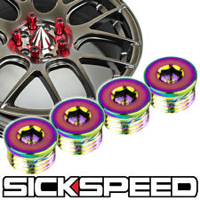 4 FLAT CAP SET FOR SICKSPEED EXTENDED TUNER LUG NUTS WHEEL/RIM P2 NEO CHROME