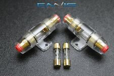 (2) AGU FUSE HOLDER W/ (2) 40 AMP 4 6 8 10 GAUGE IN LINE GLASS AWG WIRE GOLD