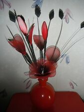 NEW- RED VASE WITH FLOWERS.ORNAMENT