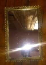 New listing Vintage Gold Metal Filigree Vanity Mirror Dresser Tray Rectangle