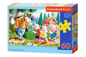 Castorland B-06519 Puzzle 3 Little Pigs kleine Schweinchen Kinderpuzzle 60 Teile