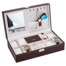 8 Slot Jewelry Box Men/Women Watch Rings Necklace Case Holder Storage w/Mirror