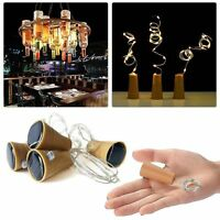 Solar Wine Bottle Cork Shaped String Light 8/10 LED Night Fairy Light Lamp Xmas