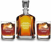 Personalized Whiskey Decanter Set - Bourbon Decanter Set - Wedding Gift - Dad