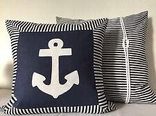 1 housse de coussin Maritime bleu foncé/blanc avec ancre 50x50cm