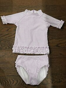 Toddler Girl Purple Ruffle Butts Floral Bathing Suit Rash Guard 18-24 Months