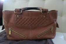 Authentic CELINE Logos Boogie Hand Bag Leather Brown Gold-Tone Italy
