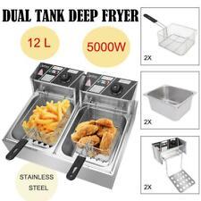 5000w 127qt Electric Deep Fryer Dual Tank Frying Cooking Machine Commercial 12l