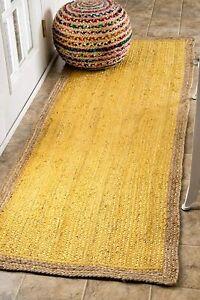 indian handmade yellow runner carpet with natural boarder bedside jute runner