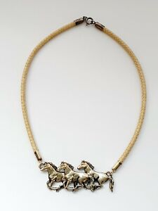 "Gorgeous Sterling Silver 15"" Horses Necklace"