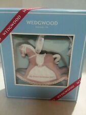 Wedgwood Rocking Horse Pink First Christmas Ornament 2017 Baby Girl New open Box