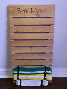 Karate Belt Display Wood Wall Rack 10 Belt Holder With Name