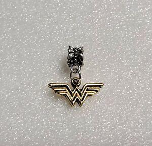 Wonder Woman European Bracelet Gold Charms  Silver Spacer