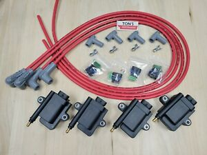 IGN Smart coil IGTB high output & MSD spark plug wires Mazda 13B rotary kit Red