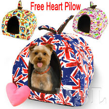 Hearts Washable Canvas Pet Igloo Dog Cat Bed House Kennel Doggy Cushion Basket S