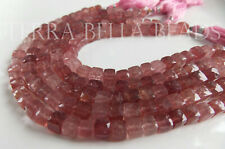 "8"" STRAWBERRY QUARTZ LEPIDOCROCITE faceted gem stone cube beads 6mm - 6.5mm"