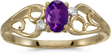 10k Yellow Gold Oval Amethyst And Diamond Ring (CM-RM2582-02)