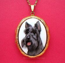 Gt Locket Necklace Mothers Day Gift Porcelain Scottish Terrier Scottie Dog Cameo