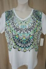 style & Co Sport Woman Top Sz 0X White Combo Multi Color Short Sleeve Casual Top