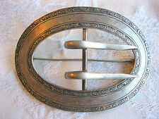 ANTIQUE EDWARDIAN VICTORIAN SASH BELT BUCKLE PIN BROOCH HEAVY STERLING SILVER