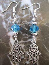 Silver Jewish Star of David Hamsa Hand & Blue Cut Crystals Artisan Earrings