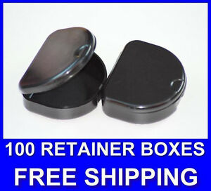 100 Black Denture Retainer Box Orthodontic Dental Case Mouth Tray Brace Ortho.