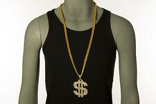 35 In 18K Men Hip Hop Rhinestones Chain Necklace Big Dollar Sign Money Pendant