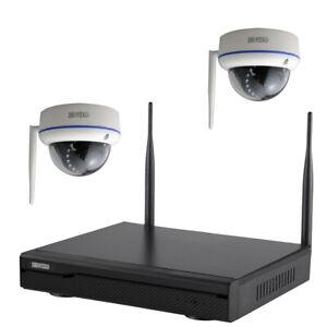 Komplettset Full HD WLAN Video-Überwachung Set  NVR 2x Dome Kamera IR Nachtsicht
