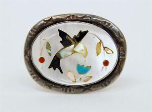 Native American Indian Sterling Silver & MOP / Gemstone Inlay Hummingbird Ring