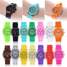 NEW Colorful Geneva Silicone Jelly Gel Quartz Analog Sport Wrist Watch Women